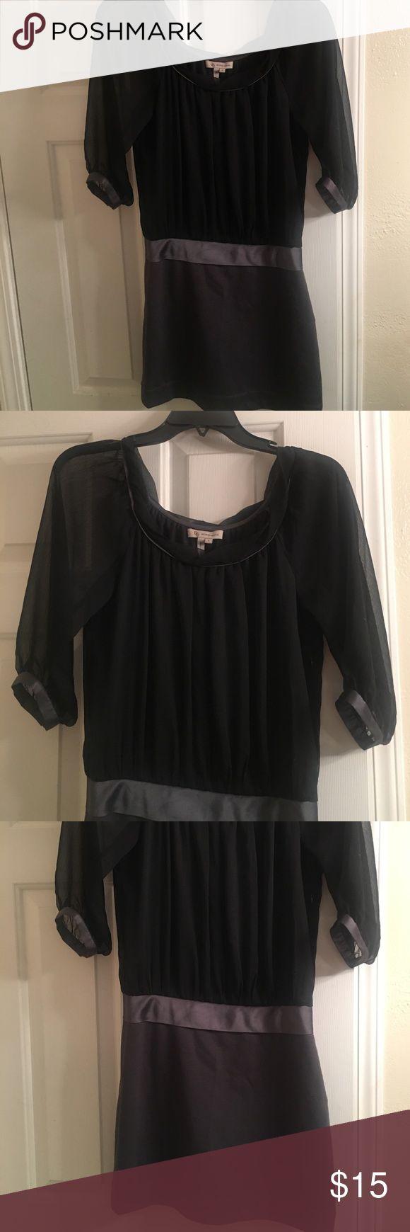 Sexy BCBG mini dress black and grey One piece top and skirt BCBG dress. Super cute, sheer sleeves. BCBGeneration Dresses Mini