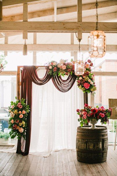 If We Add Burgundy, Blush, Or Gray Draping To The Arch And A Corner
