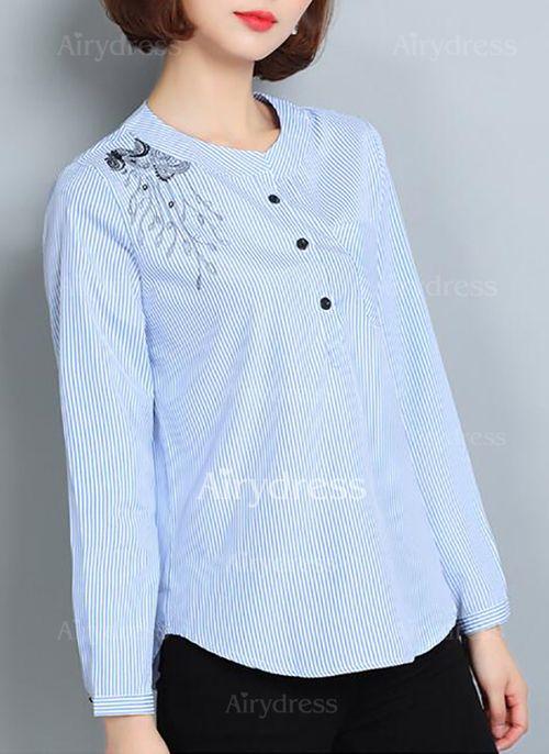 Raya Casuales Algodón Cuello redondo Manga larga Camisas (1031507) @