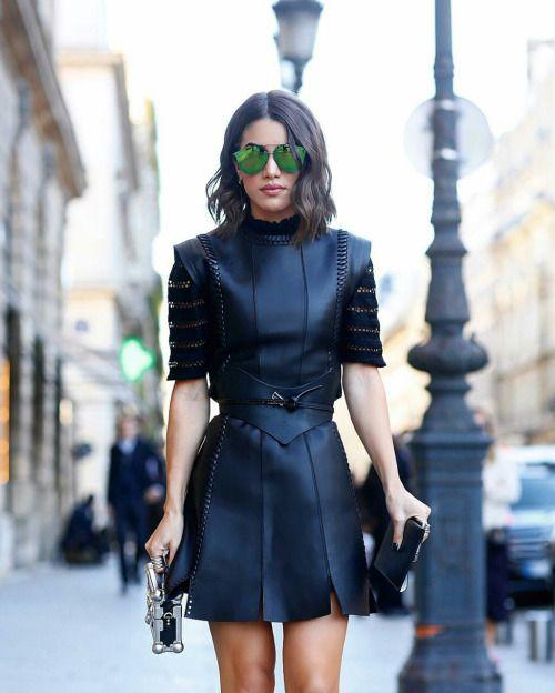 "fabfashionfix: ""Camila Coelho wearing Louis Vuitton leather dress at Paris fashion week (October 2016). """