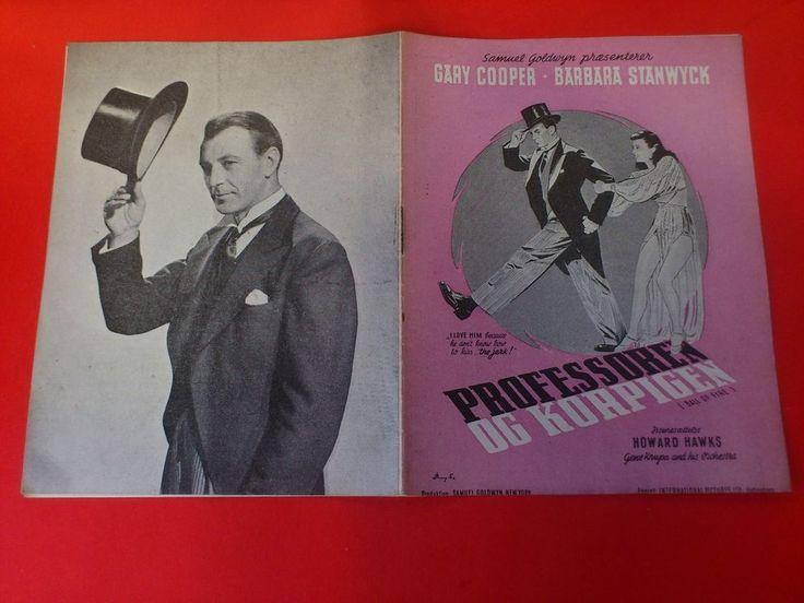 """Danish movie program.""""Ball of Fire"""""""" Barbara Stanwyck.Gary Cooper."""