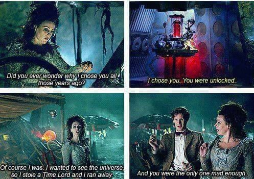 "I wish Rose could have met Idris; I believe she wanted to actually talk to the TARDIS almost as much as The Doctor. And that the TARDIS always wanted to talk to Rose ""with mouths"". I feel that it would have been a long lost sister experience. Then they spend the rest of the episode making fun of The Doctor."