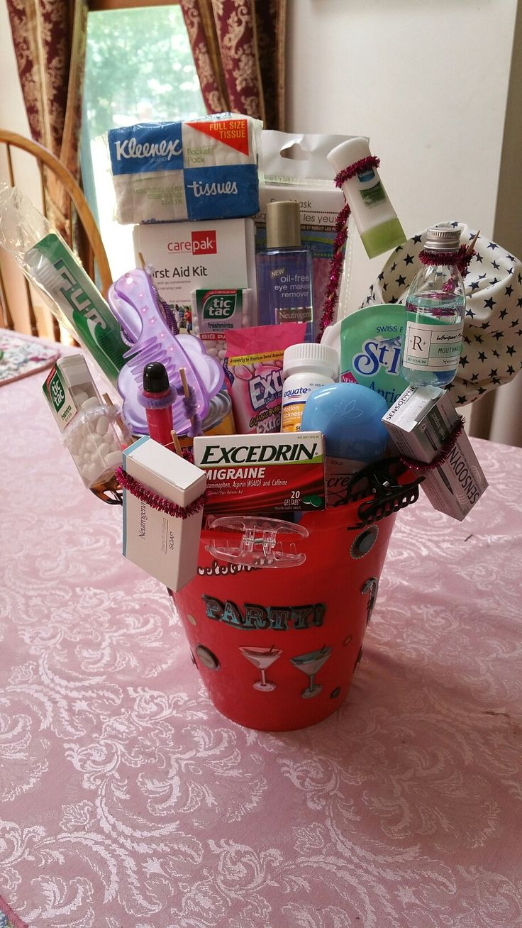 21st Birthday: hangover cure basket with misc remedies