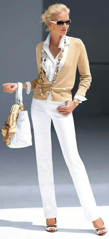 Love all this white with a touch of tan....cruise wear ...