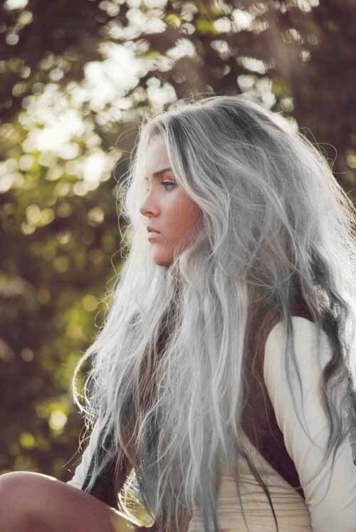 Ethereal silver/gray hair.: