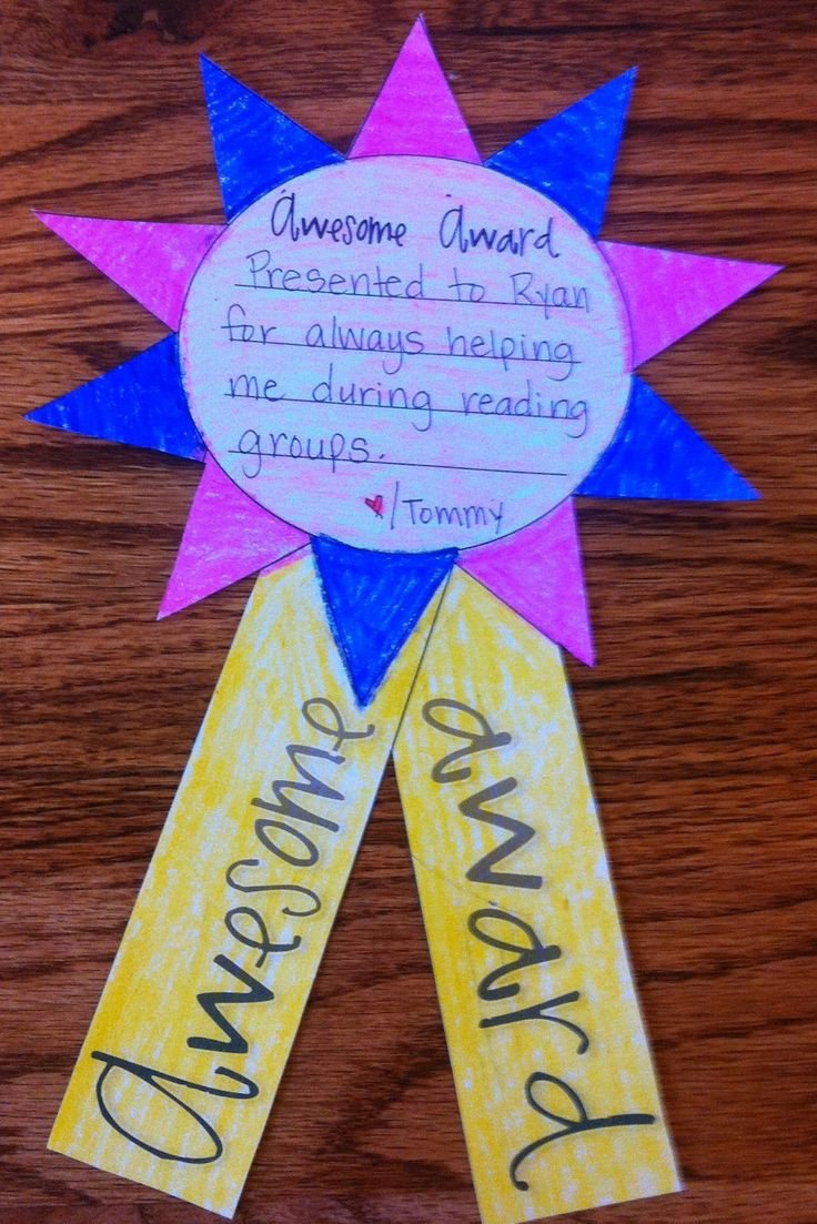 Awesome Awards . . . students draw names and award to classmates.  End of the year activity :)