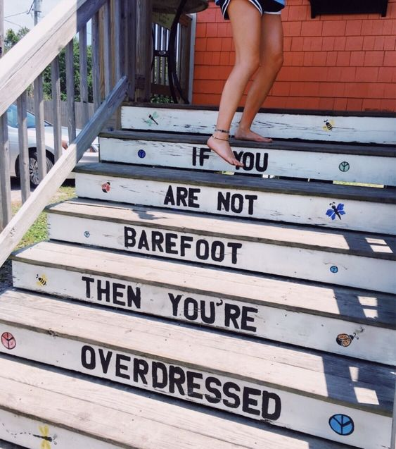 "This quote put a smile on our faces with it's style vibes, ""if you are not barefoot then you're overdressed."" Beach style #QOTD SurfGirl :)"