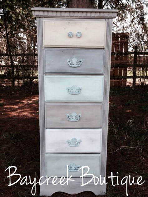Ombré dresser. white washed with different colored drawers. Lingerie dresser