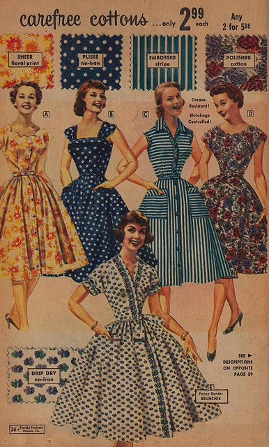 Carefree (beautiful!) 1950s cotton summer dresses. #vintage #1950s #fashion day wear casual house dress full skirt stripes dots floral wrap button front pockets