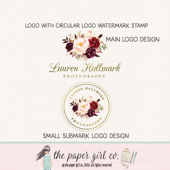 flower logo florist logo photography logo by thepapergirlco the