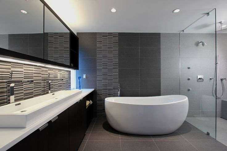Gray Modern Bathroom With A Freestanding Tub #4025 Gallery (Photo ...