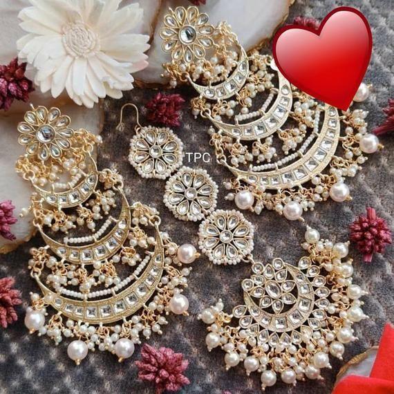 Kundan Meena Earrings Indian Earrings Bollywood Jewelry Gold Plated Earrings Dangle Earrings Indian Bridal Jewelry Meenakari Earrings