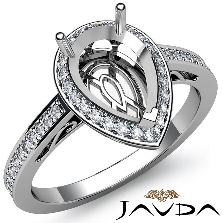 Diamond Engagement Filigree Ring Pear Semi Mount Halo Pave 14k White Gold 0 5ct | eBay