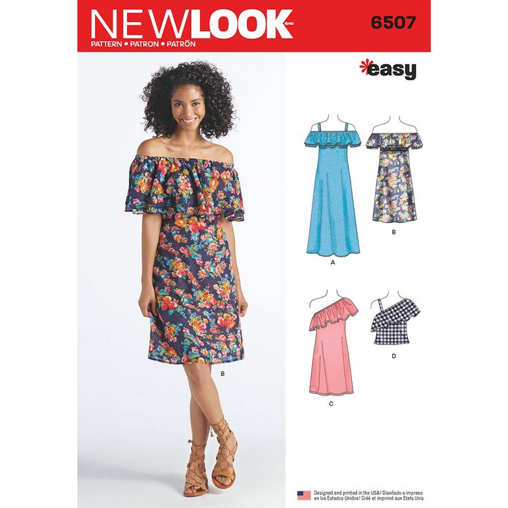 Womens Dresses and Top New Look Sewing Pattern 6507. Size XS--XL.