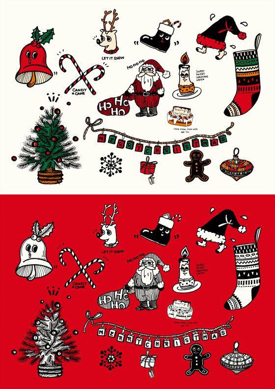 クリスマス用手書きイラスト素材サンタクロースとトナカイとクリスマス