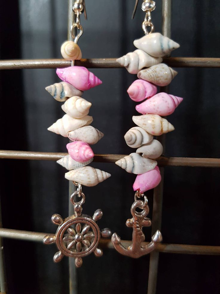 Mismatched Nautical Shell Earrings by LykoCrafter on Etsy