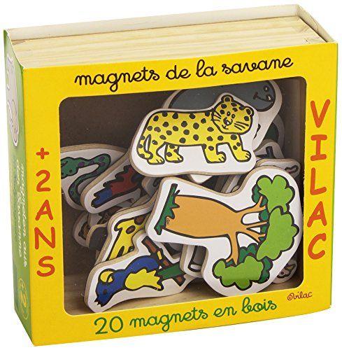 Vilac - 8012 - Jeux et Jouets en Bois - Coffret 20 Magnets de la Savane