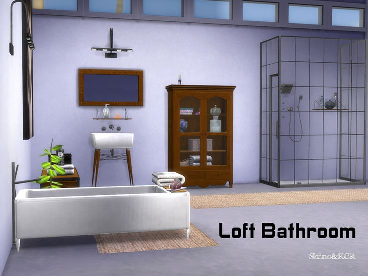 Bathroom for the loft series found in tsr category 39 sims 4 for Bathroom ideas sims 4