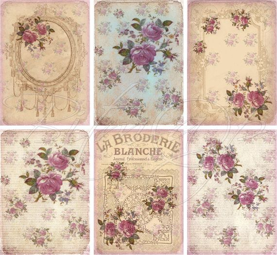 INSTANT DOWNLOAD diGitAl DowNloAd ShaBBy Chic RosEs por bitmap, $4.00