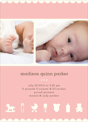 Baby Things birth announcement in LIttle Pinky