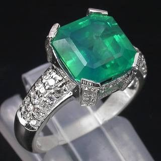 5.5ct Colombian Emerald + White Sapphire Ring