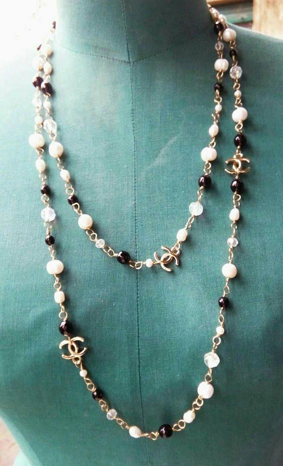CHANEL maxi-style necklace, pearl necklace, black and white necklace,  décolleté necklace, Rosario necklace, CC necklace, handmade pearls Italy    Chanel ... c235214e7fd