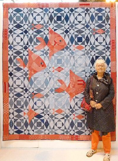 Fish at Sea quilt with fish by Pam Stanier. 2014 Festival of Quilts (UK).  Those fish are larger than I thought they would be!  Posted by Stitch 45.
