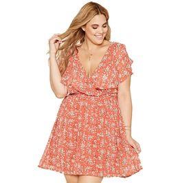 Deep V Neck Ruffle Top Floral Print Boho Plus Size Mini Dress 145042