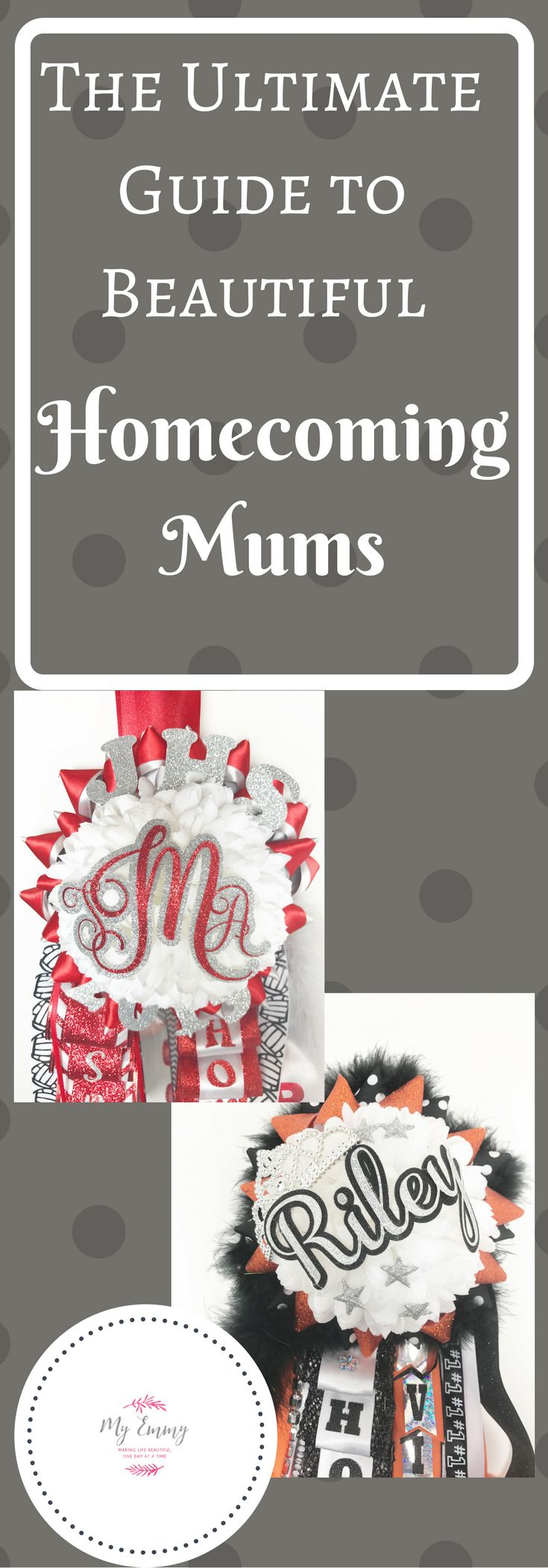 A fantastic guide to what you need to make your own homecoming mum along with beautiful pictures and ideas.