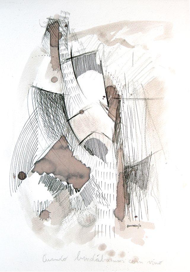 """""""Cuando brindábamos con vino"""". Acuarela, vino, grafito y fibra sobre papel. 30 x 20 cm. 2012."""