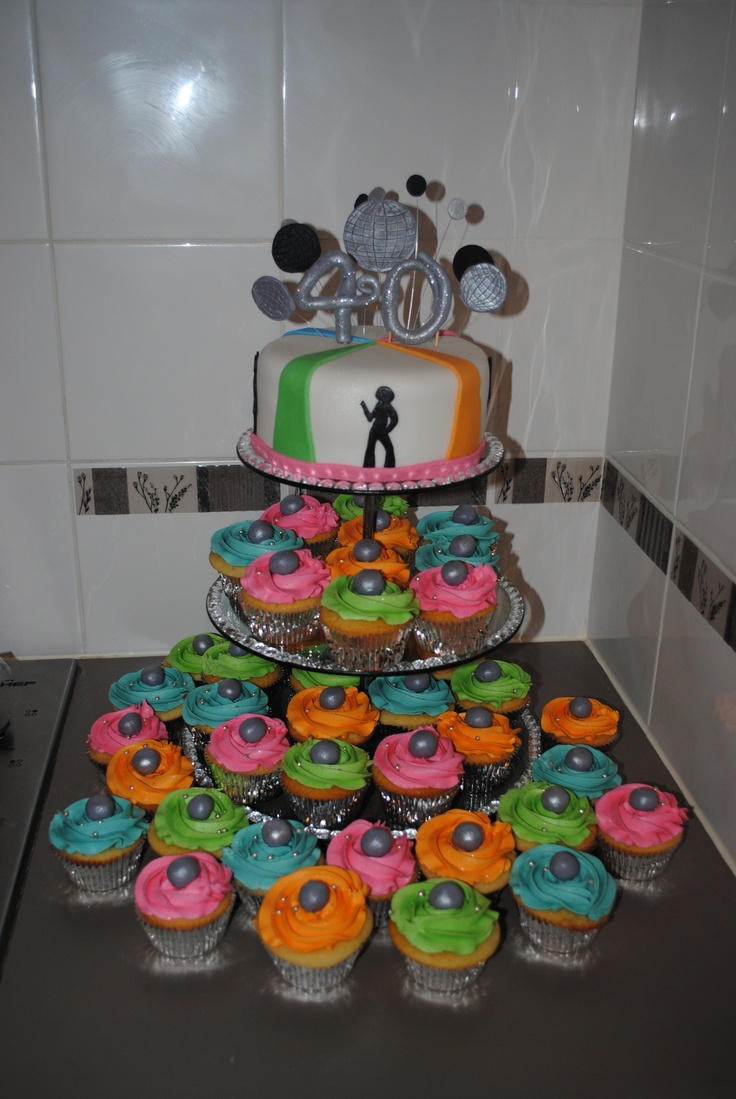 Disco Theme Cake And Cupcakes My 70 S Disco Party