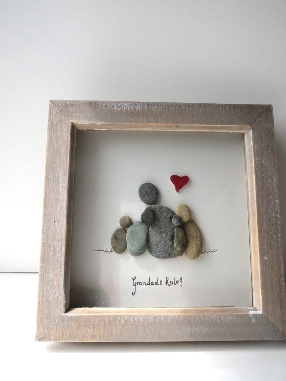 Grandads rule! pebble art, grandchildren gift, pebble picture, red heart, family picture, family, loved ones, gramps, pops,