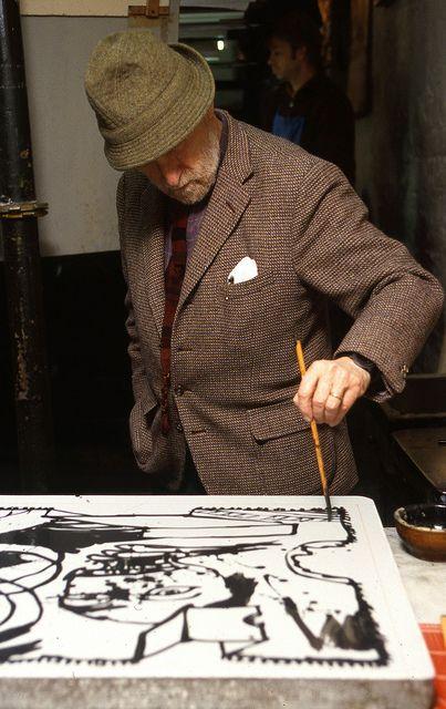 PARIS : Pierre Alechinsky, artiste belge, peintre et graveur.