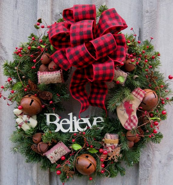 http://www.pinterest.com/pipchippin/wreathsswags-front-doorsgates/ Christmas Wreath Holiday Wreath Woodland by NewEnglandWreath