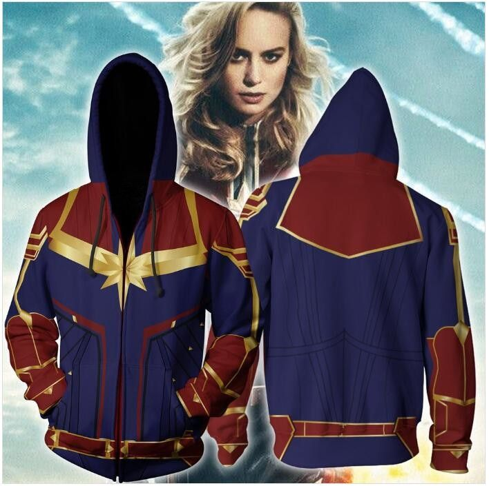 Captain Marvel Costume Ms.Marvel Cosplay Carol Danvers Hoodies Girl Coat Jacket