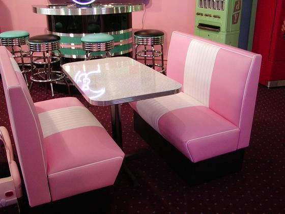 retro table 50s pink moon booth   Cruiser Diner Booth Set: Restaurant, Diner, Commercial, Home, Kitchen