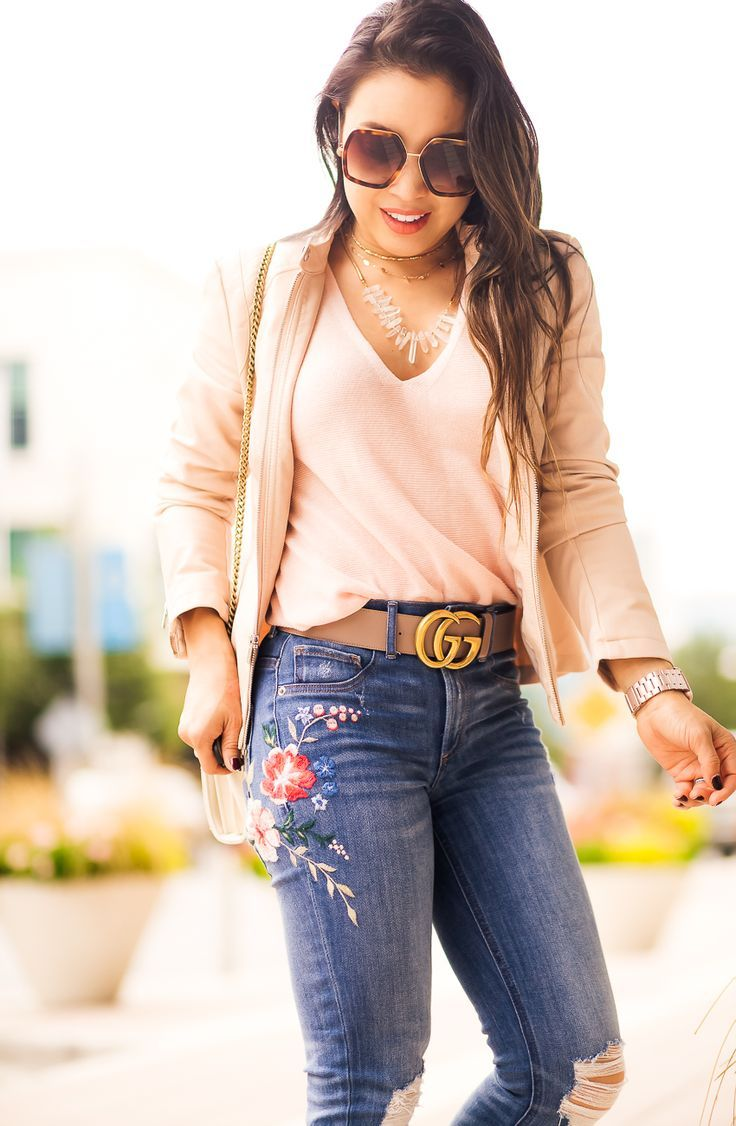 fb4c0b5a62 High Waist Embroidered Jeans
