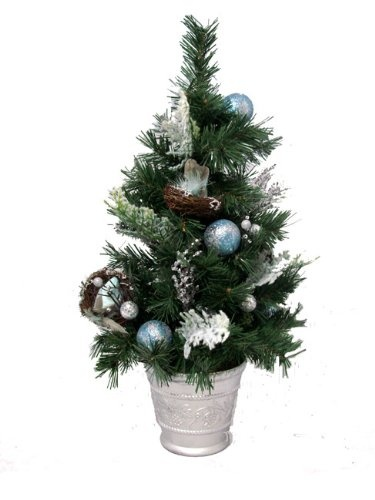 $29.99-$39.99 2' Tiffany Iced Blue Pre-Decorated Potted Artificial Christmas Tree - Unlit - Pre-Decorated Artificial Christmas Tree Item #XDY188-AQ/SI Skip the hassle of having to worry about coordinating your holiday decor with this festive fully decorated Christmas tree Product Features: Unlit Pre-decorated tree with Tiffany blue and silver glitter drenched ball ornaments featuring snow flocke ...