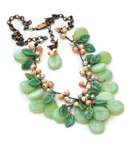 Green Statement Necklace Bib Necklace by CherylParrottJewelry, $114.95