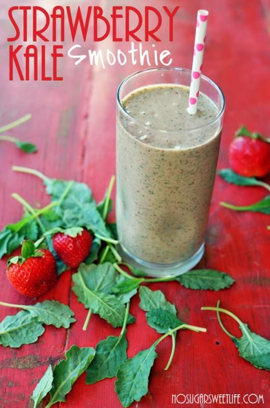 I will have this tomorrow!  Strawberry Kale Smoothie | OMG I Love To Cook
