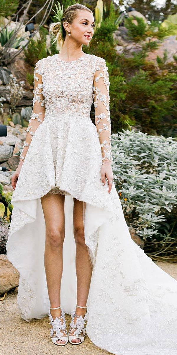 Top 15 High Low Wedding Dresses ❤ High Low wedding dresses are unconventional, but they are as elegant and chic as the classic wedding dresses. See more: http://www.weddingforward.com/high-low-wedding-dresses/ #wedding #dresses #highlow