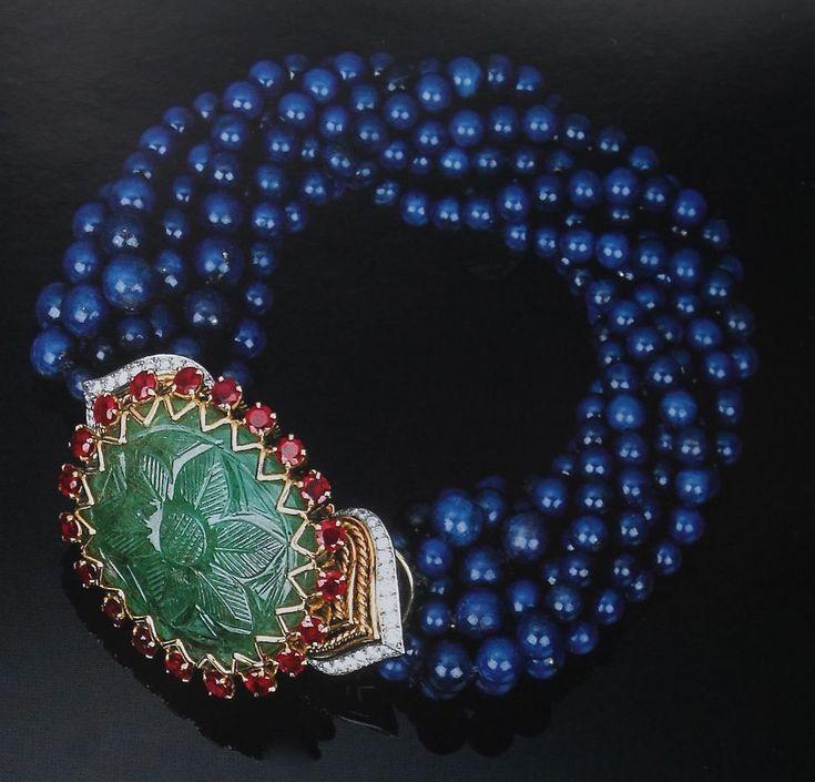 Cartier Paris Carved Emerald Lapis Lazuli Bracelet