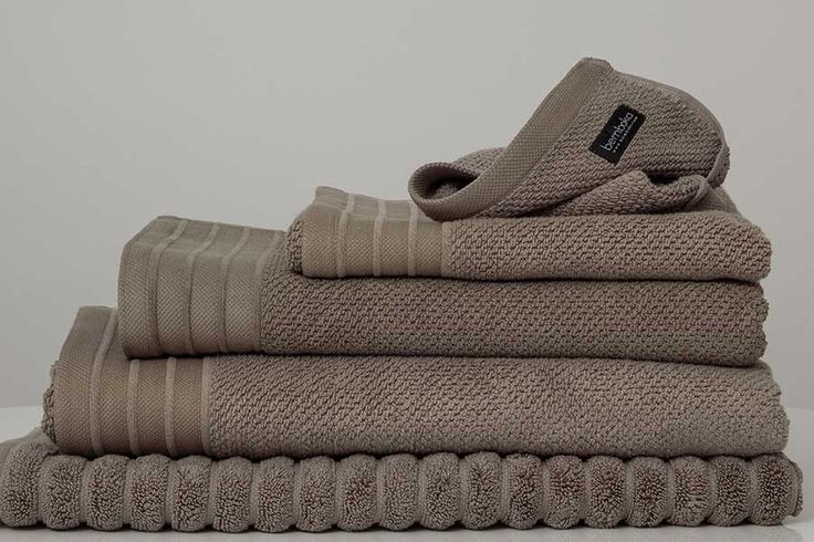 Bemboka Bathtowels. Woven in Turkey on jacquard looms in a weight of 650gsm. They are frequently used in commercial situations. These luxury towels are soft, thick, highly absorbent and long lasting. The beautiful pique border design with chenille ribbed stripes and a sophisticated neutral colour palette make these towels a bathroom classic for years to come