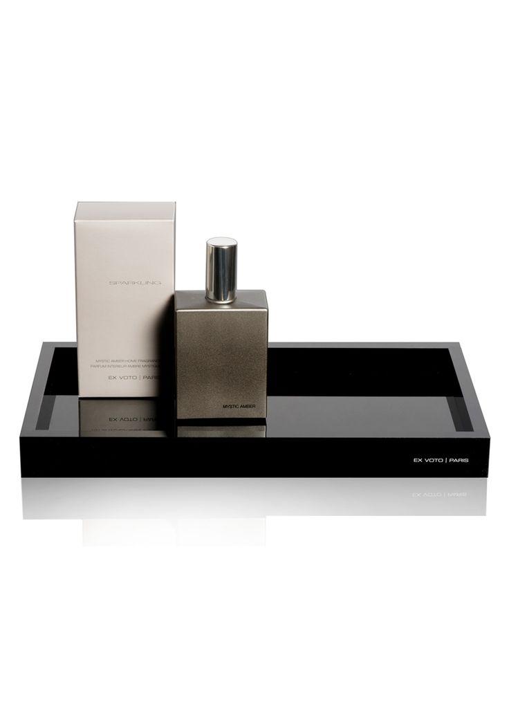 Home Fragrance & black plexiglass tray by Ex Voto Paris
