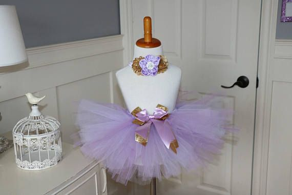 Lavender and gold Tutu with Headband