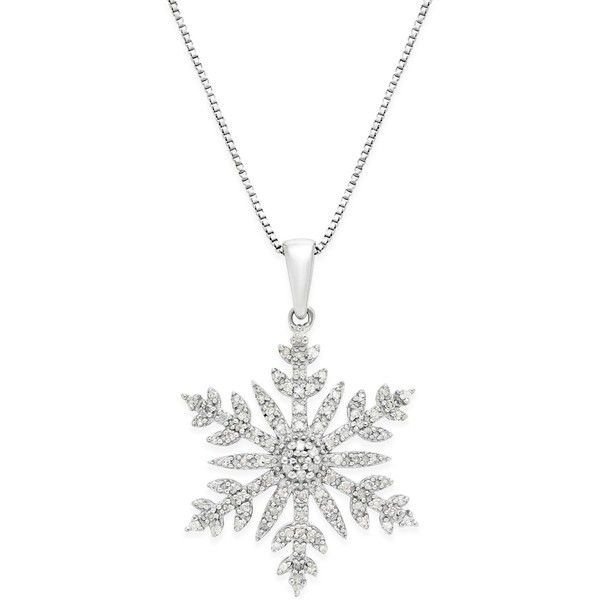 Diamond (1/3 ct. t.w.) Snowflake Adjustable Pendant Necklace in... found on Polyvore featuring jewelry, silver, heart shaped diamond necklace, druzy necklace, diamond necklaces, pendants & necklaces and diamond snowflake necklace