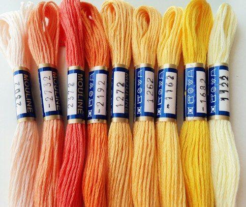 Příze / bavlnky MOULINÉ oranžovožlutá duha 9ks