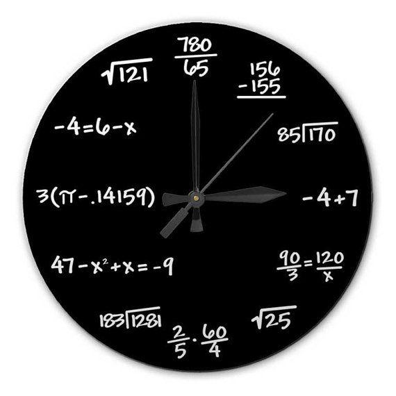 @Brooke Walker  Mathematics Chalkboard Clock - High Quality, Acrylic, 10.75 inch diameter BLACK or GREEN - Gift for Teacher, Professor, Student, Engineer