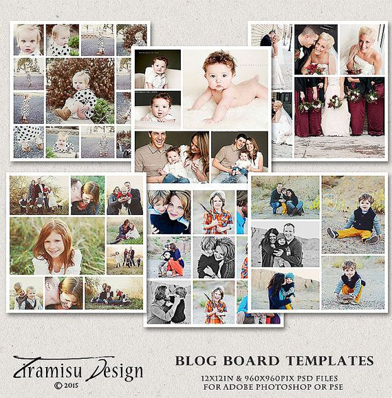 Collage-Sjablonen, Blog Board sjablonen, verhaal Board Photoshop sjablonen, 12x12in, drukken 6 Pack bundel, sku 33-1