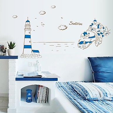 Wall Stickers Wall Decals, Mediterranean Sea Style Lighthouse PVC Wall Stickers - USD $ 11.99